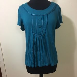 Teal button embellished scoop blouse